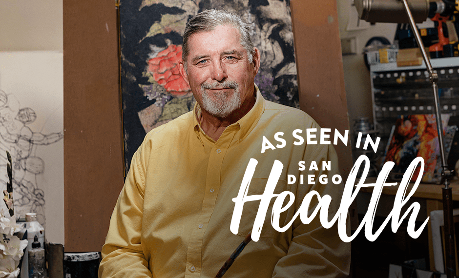 Image of Ed White, a former San Diego Chargers lineman, who received a minimally invasive heart valve replacement at Scripps and was featured on the cover of San Diego Health Magazine.